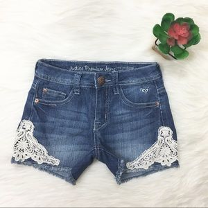 Justice Denim Crochet Lace Side Denim Shorts